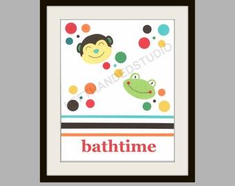 Kohl's Jumping Bean FROG and MONKEY, Art Print, Children's Art Print, Bath Art Print, 8x10,