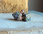 Portugal Antique Azulejo Tile Replica Double FRONT BaCK  Earrings - with GOLD Plated Cubic Zirconia Studs Barcelos  696-FB