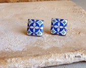 Portugal  Antique Azulejo Tile Replica Earrings Post Stud -Rua de Aviz - Historic! Gift Box - 701 Stud