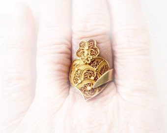 Portugal Filigree Heart of Minho VIANA Ring - Portuguese SILVER - Adjustable - made in Porto - dipped in 24k Gold Bath