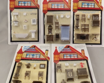 Dollhouse Miniature Vintage Quarter Scale Furniture Sets Lot of 5