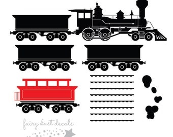 Train Wall Decal - vinyl sticker - boys room train decal - caboose engine train - train decal for bedroom wall - boy bedroom decals - train