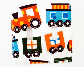 Train Light Switch Cover - Boys Nursery Switch Plate - Trains Double Switchplate - Boys Nursery Decor - Train Bedroom Decor - Train Room