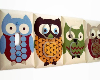 Owl Light Switch Plate - Woodland Outlet Covers - Boys Woodland Nursery - Owl Switchplate - Baby Boy Nursery Decor - Woodland Bedroom