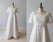 1960s Wedding Dress / Empire Waist / Sheath / Chapel Train / Elizabeth