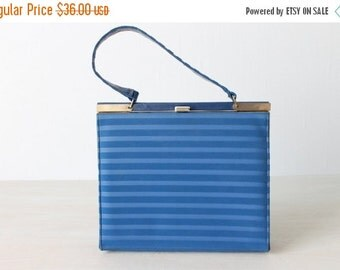 SALE Vintage 1960s Royal Blue Square Frame Leather Handbag Purse / Hyacinth
