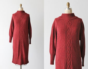 Red Sweater Dress / 1970s Knit Dress / Chunky Sweater Dress / Long Knit Sweater Dress