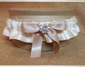 Skirted Satin Bridal Garter Rhinestone Accents....You Choose The Colors..Shown in ivory/champagne