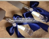 Elite Satin Cake Server Set with Rhinestone Accent ..You Choose The Bow Colors..shown in navy blue/ivory