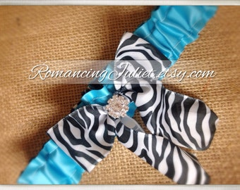 Simple Satin Deluxe Dual Color Bridal Garter with Rhinestone Accent..You Choose The Colors..shown in zebra/turquoise/zebra