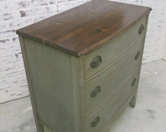 3-Drawer Chest, Weathered Grey Cottage Style - DR801 Shabby Farmhouse Chic, French Country, Stained Wood Top