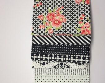 SALE - 1/2 Yard Bundle (7) - Handmade in Black - Bonnie and Camille for Moda Fabrics