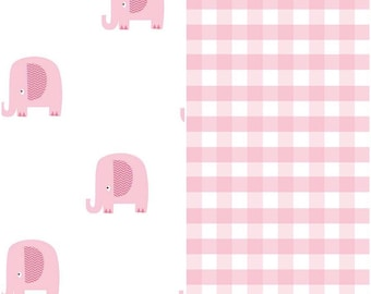 SPRING SALE  - 1 1/4 Yards Each - Blanket Cut - Double Gauze - Pink Gingham and Pink Elephants - Riley Blake Designs