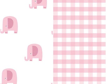 SUMMER SALE  - 1 1/4 Yards Each - Blanket Cut - Double Gauze - Pink Gingham and Pink Elephants - Riley Blake Designs