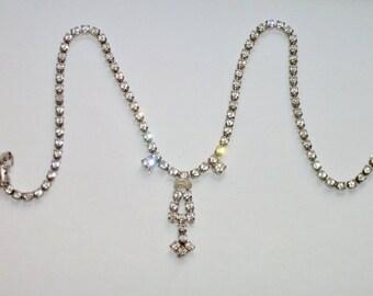 "Vintage Clear Rhinestone Drop Necklace, Simple Pendant Crystal Choker 15"""
