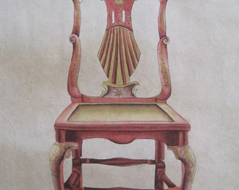 Watercolor Furniture Designer Drawing Fancy Claw Ball Chinoiserie Chair Early 1900's