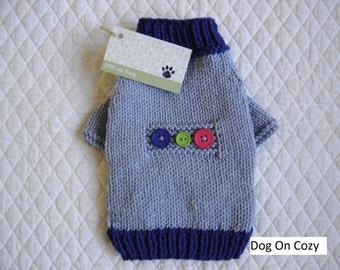 Raglan Dog Sweater, Hand Knit Dog Sweater, Size XSMALL, Button Patch Blue