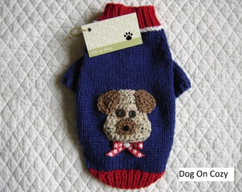Appliqued Dog Sweater, Full Length Hand Knit Pet Sweater, Size XSMALL - Puppy Love Blue
