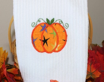 """Embroidered """"Pumpkin"""" Kitchen Towel"""