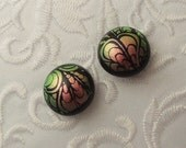 Earth Tone Earrings - Dichroic Fused Glass Earrings - Dichroic Earrings - Bead Findings - Stud Earrings - Post Earrings 1237