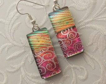 Pink Earrings - Bohemian Earrings - Dichroic Fused Glass Earrings - Glass Earrings - Dichroic Earrings - Dichroic Jewelry X7148