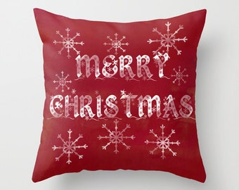 Red merry christmas pillow, christmas snowflake cushions, red holiday pillows, home decor cushion, christmas word art, christmas typography