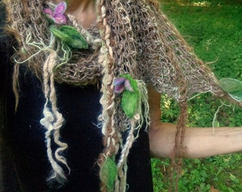 hand knit art yarn  rustic alpaca wool enchanted forest faerie scarf wrap - nature sister