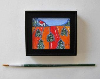 Framed acrylic landscape, Original Miniature Painting, Christmas trees, Affordable art, red barn, farm, gift idea