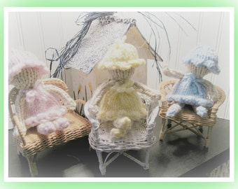 Pattern Knitted Bonnet Babies 7 to 8  inch Doll