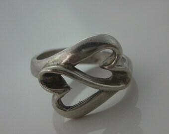 Size 8 1/4 Vintage Heart Shape Double Heart Sterling Silver Ring