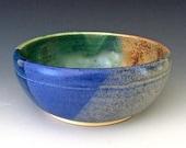 Small Bowl:  Denim Blue, Teal Blue & Sandstone Bowl. Soup. Salad. Rice Bowl. #2