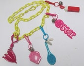 Bell Charm Necklace 80s Vintage Plastic Clip Charms 1980s Kitsch Girly Pastels