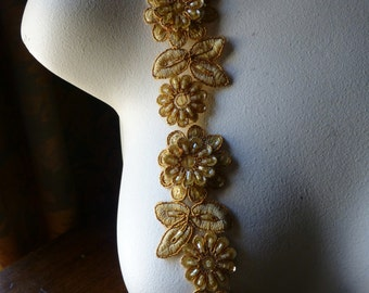 "Goldenrod Beaded Applique Trim 12""  for Lyrical Dance, Costume or Jewelry Design, Crafts TR 249goldenrod"