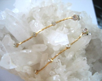 DIAMENTE and GOLD Chain DROP Earrings for Pierced Ears Vintage