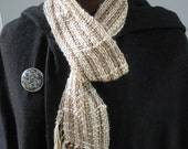 Unisex Handwoven Scarf in Tan Linen, Cotton, Silk and Chenille