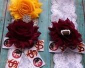 FSU Seminoles,Florida State University Garter,FSU inspired Football Garter,Bridal Garters,Wedding Garter,Sports Garter,Lace Garter