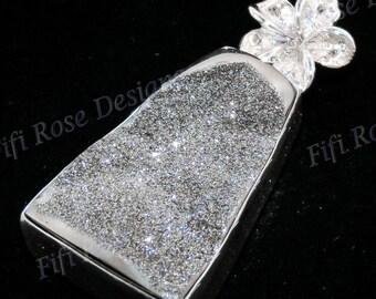 "Us-made 1 11/16"" Moon Silver Titanium Druzy Drusy 925 Sterling Silver Pendant"