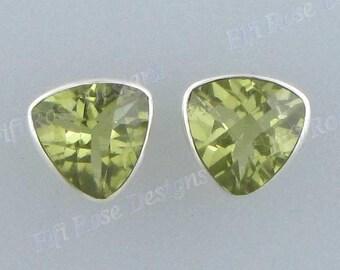"""3/8"""" Lemon Quartz 925 Sterling Silver Post Earrings"""