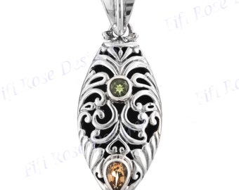 """1 1/4"""" Handcrafted Peridot Citrine Cast 925 Sterling Silver Pendant"""