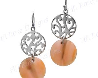 "1 1/4"" Filigree Gold Abalone Shell 925 Sterling Silver Earrings"