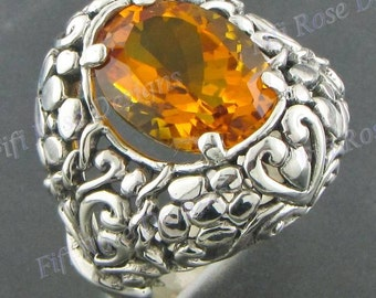 Adorable Citrine 925 Sterling Silver Sz 9 Ring