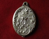 Chatelaine Mirror french antique slide locket with violets flowers