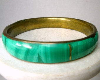 Malachite and Brass Bangle Bracelet, 1980s Inlay Green Stone Sections, Quite Weighty, Used, Handmade, Fabulous Color