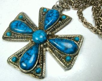 Southwestern Iron Cross Pendant, Turquoise n Silver Tone Maltese Cross on Silver chain, 1970s
