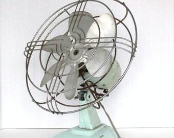 Vintage Six Blade Oscillating Seafoam Green Desk Fan