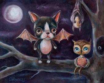 Dog Art, Boston Terrier Art Print, Bat print, Owl Print, Pop Surrealism, Whimsical Art, Matted Print, Lowbrow Art, Halloween Art Print