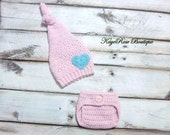 Valentines Newborn to 3 Month Old Baby Girl Heart Stocking Hat and Diaper Cover Set Soft Pink and Teal