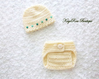 Newborn to 3 Month Old Baby Girl Cream Crochet Button Hat and Diaper Cover Set