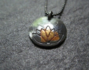 golden lotus - blackened fine silver with gold pendant on silver chain