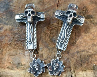 E254 Sterling Silver Skulls Chimayo Cross and Flower Skull Southwestern Native Santa Fe Style Earrings